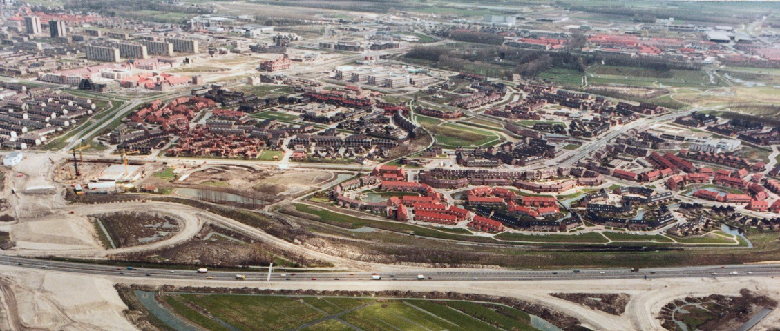 De Nieuwegeinse wijk Doorslag in aanbouw begin jaren 80